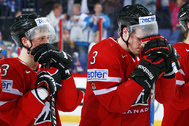 HELSINKI, FINLAND - MAY 17: Canada's Ryan Nugent-Hopkins #93 and Dion Phaneuf #3 hang their heads after quarterfinal action at the 2012 IIHF World Championship. (Photo by Jeff Vinnick/HHOF-IIHF Images)