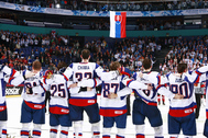HELSINKI, FINLAND - MAY 17: Team Slovakia stand for their nation anthem after defeating Team Canada in quarterfinal action at the 2012 IIHF World Championship. (Photo by Jeff Vinnick/HHOF-IIHF Images)