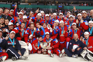 HELSINKI, FINLAND - MAY 20:  Team Russia after winning the gold medal at the 2012 IIHF World Championship. (Photo by Jeff Vinnick/HHOF-IIHF Images)